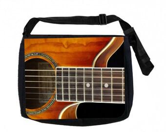Acoustic Guitar Black School Shoulder Messenger Bag