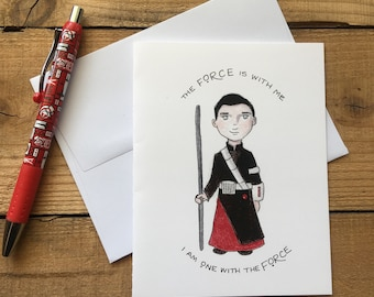 I Am One With The Force Blank Notecards - Chirrut Imwe Blank Notecards - Star Wars Rogue One Blank Notecards