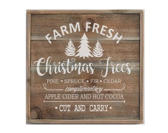 Large Farm Fresh Christmas Tree Sign, Holiday Decor, Christmas Sign, Christmas Decoration, Farm House Sign