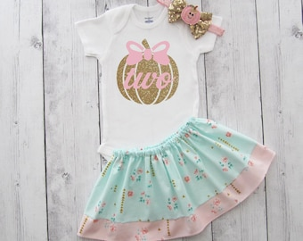 Pumpkin Two Birthday Outfit - second birthday girl, pumpkin birthday girl, pink gold mint, pumpkin bow, shabby chic skirt, birthday outfit