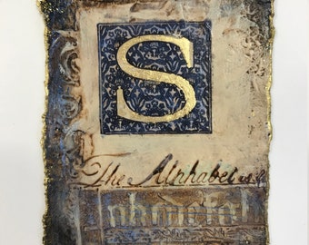 INITIAL S,  small original contemporary mixed media painting monogram on handmade paper with gold leaf