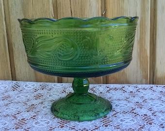 E O Brody Green Glass Compote M6000