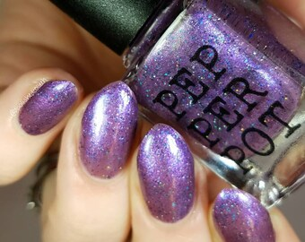 Dark Purple Eggplant Nail Polish Black Teal Holo Glitter Hot Pants Explosion Bath Beauty Gift For Her Pepper Pot Polish