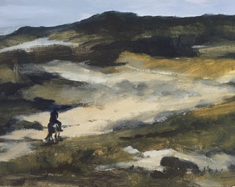 Riding in the dunes, plein air landscape in Schoorl NL, original oil painting on panel