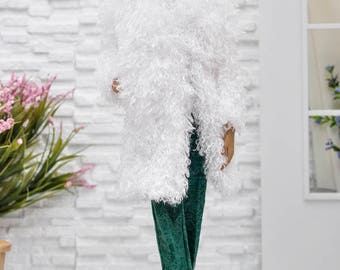 ELENPRIV white faux fur coat with full lining for Fashion royalty FR16 and similar body size dolls