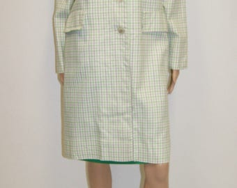 Vintage 60's Mod Plaid Dress & Coat Matching Set Size 8/10