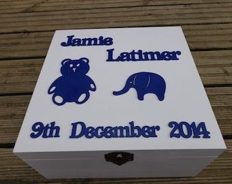 Personalised Printed Wood Boys Christening Keepsake / Memory Box New Baby Gift