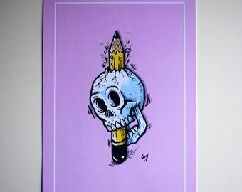 Leaded skull art print