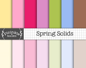 Pastel Solid Digital Paper, Pastel Plain Scrapbook Paper, Spring, Easter, Instant Download, Commercial Use