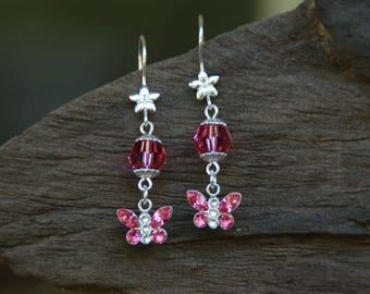 Sterling Silver Butterfly With Swarovski Crystal Earrings