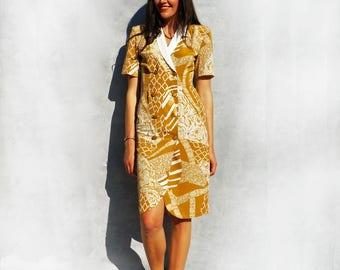 Vintage Shirt Dress, 80s Dress, Double Breasted Dress, Yellow Dress, Short Sleeve Dress, Knee Length Dress, Dress With Sleeves, Smart Dress