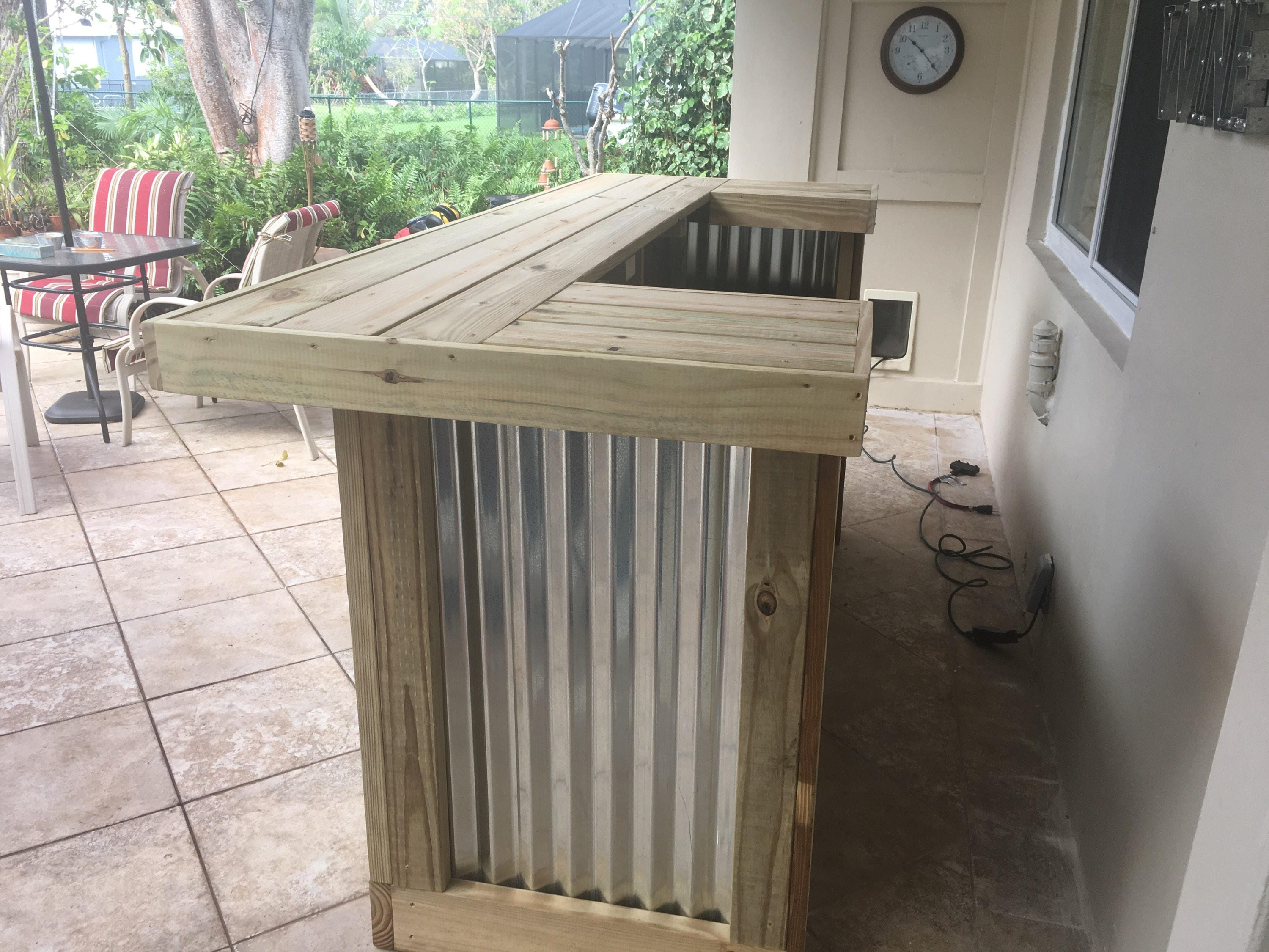 The thomas 3 39 x 8 39 x 3 39 two level rustic corrugated for U shaped outdoor bar