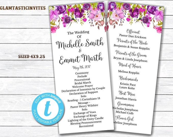 Wedding Program Template, INSTANT DOWNLOAD, You Edit, Ceremony Program Template, Wedding Program, Wedding Template, DIY, Kraft Program