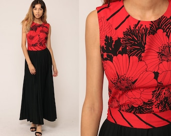 Floral Maxi Dress 70s Long High Waist Boho Print PLEATED Hippie Bohemian 1970s Red Black Sleeveless BELTED Vintage Medium Large