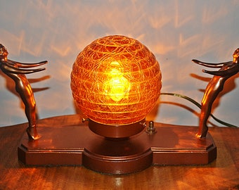 Art Deco Table Lamp, Vintage Lamp With Amber Globe Shade, Bronze/Gold-Tone Cast Metal Lamp
