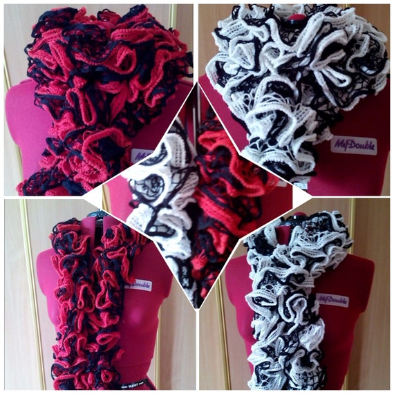 Ruffle scarf Trendy twirly scarf Lace scarf Crochet Lace