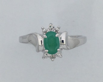 Natural Emerald with Natural Diamond Ring 925 Sterling Silver