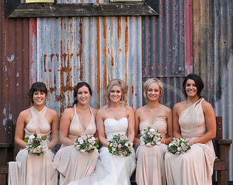 Bridesmaid Dress Nude Maxi Floor Length, Infinity Dress, Prom Dress, Multiway Dress, Convertible Dress, Maternity - 26 colors