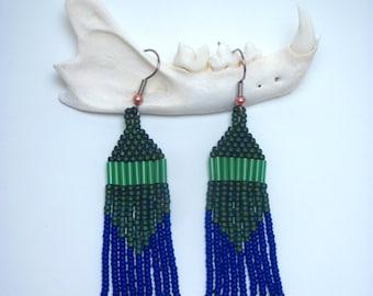 Green Iridescence, Modern Native American Beaded Earrings
