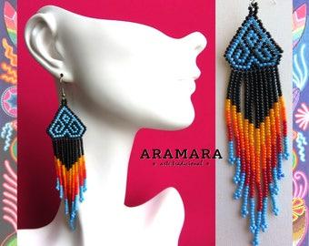 Huichol Earrings, Mexican earrings, Mexican Jewelry, Native american earrings,  Mexican folk art, Boho earrings, Native Jewelry, AO-0083