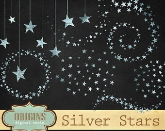 Silver Stars Clipart, Glitter Clip Art, Silver foil stars, Celestial Clipart, starry night sky PNG Digital Instant Download Commercial Use