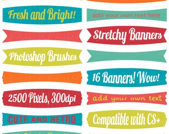 Stretchy Banners Photoshop Brushes, Frame Label Tag Photoshop Brush - Commercial and Personal Use