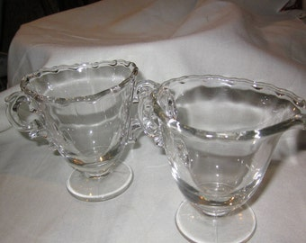Vintage clear glass sugar and creamer set