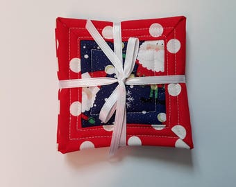 """Christmas Santa Quilted Fabric Coasters / Absorbent Coasters / Drink Coasters / Mug Coasters / Set of 4 Coasters / 4"""" x 4"""" Square Coasters"""