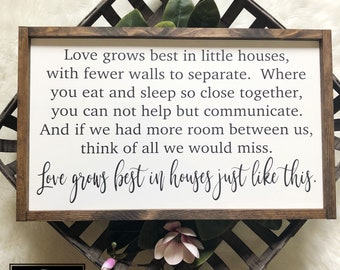 14x24 | Love grows best in little houses | housewarming gift | wedding gift | mothers day gift | living room decor