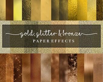 Gold, Glitter & Bronze Paper Effects   Foil   Glitter  Digital Paper   Scrapbook