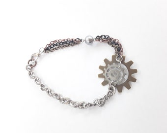 Steampunk Gears, Chains and Gray Glass Pearl Bracelet