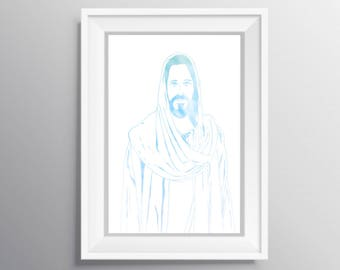 Jesus art, Jesus print, Jesus printable, Jesus watercolor, Jesus