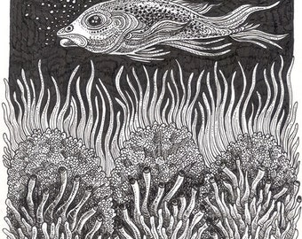 "Ink Drawing 18 - a whimsical black & white 8 x 10"" ink pen ART PRINT of a fish serenly swimming over a beautifully detailed coral reef"