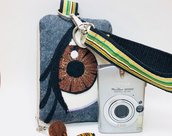 Beautiful Brown-Eyed Mini-Camera or Phone Wristlet