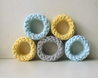 Textile bracelet, Cotton Knitted bracelets in stock, knitted jewelry