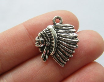 8 Native American charms antique silver tone WT240