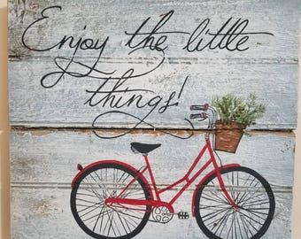 Enjoy the Little Things Hand Painted Bike with Basket