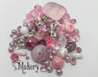 Pale pink bead mix, 50 beads, glass, resin, ceramic, plastic