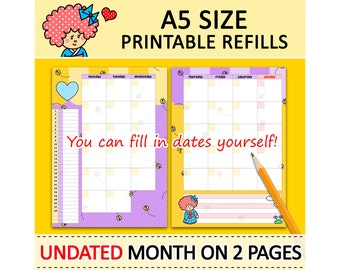 PRINTABLE A5 Size UNDATED Month On Two Pages Cute Kokeshi Refills for Filofax Kikki.K Louis Vuitton Planner Instant Download