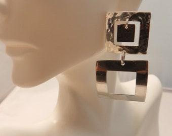 Alpaca Mexico Sterling Silver Large Square Dangle Earrings