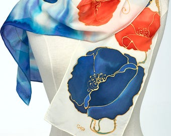 Hand Painted Silk Scarf, Silk Shawl Using French Dyes. Blue and Orange Poppy Flowers on White.