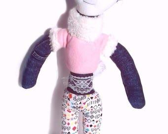 Handmade doll,Fabric doll, rag doll, cloth doll,  pink, baby blue, denim, gift, girl, fashion doll, one of a kind, cute