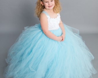 Flower girl dress - Tutu Dress - Tulle Dress -Toddler/Youth - Pageant Dress - Wedding - Light Blue Dress -White and Light Blue Flower Dress