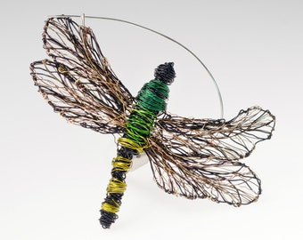 Dragonfly jewelry, dragonfly art, dragonfly brooch, wire sculpture, insect jewelry, large brooch, Summer, green jewelry, boho, womens gift
