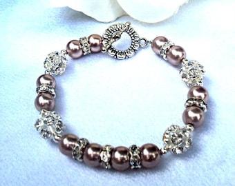 Womens Tan Swarovski Pearl Bracelet - CUSTOM SIZING AVAILABLE