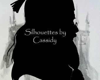 """Dumbledore character hand cut paper silhouette on castle-printed 5"""" x 7"""" card"""
