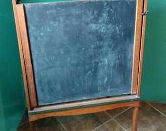 Antique Lithoplate Chalkboard Easel and Desk c. 1928