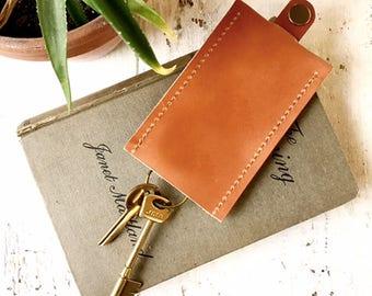 Veg tan upcycled leather key holder