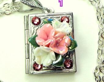 Vintage Pink & White Porcelain Flowers, Book Locket Necklace,Vintage Stamping,Swarovski Crystals,Woodland Fantasy Locket, OOAK