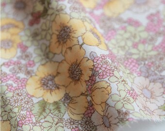 Flowers Cotton Fabric, Floral Fabric - Yellow & Pink - 59 Inches Wide - By the Yard 82006